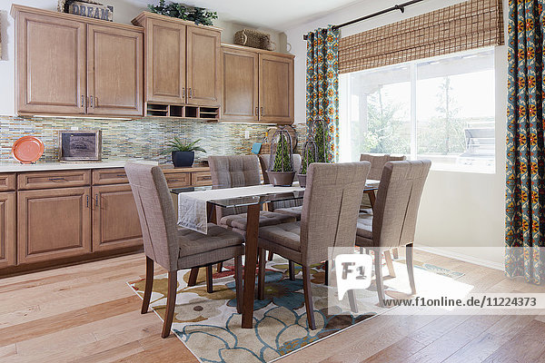 Dining area in domestic kitchen