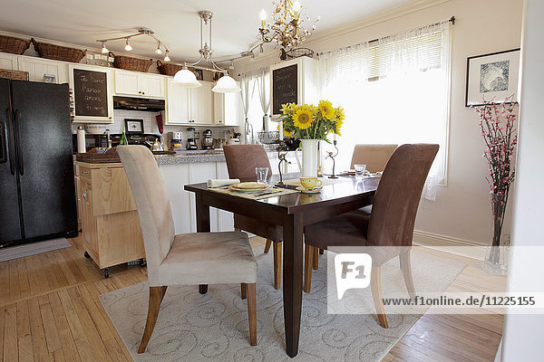 Dining table in traditional kitchen