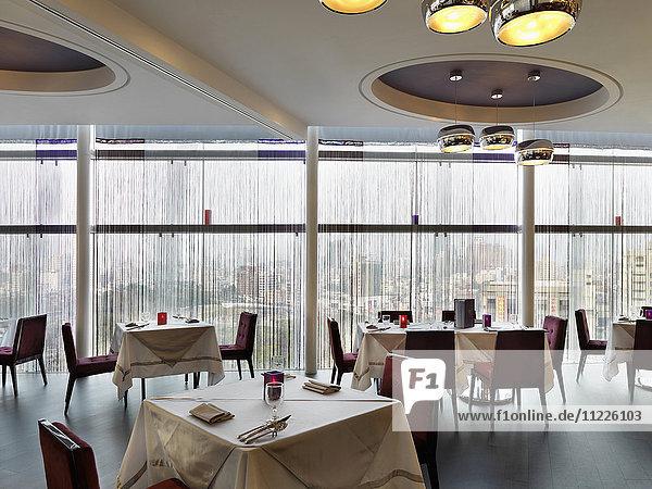 Interior of dining area in luxury hotel