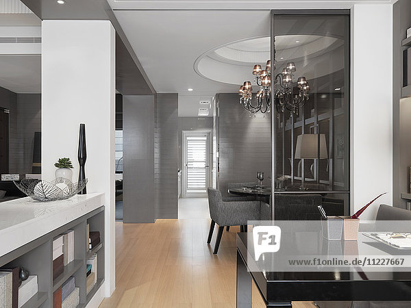 Interior modern home with gray walls