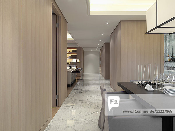 Marble hallway through modern home
