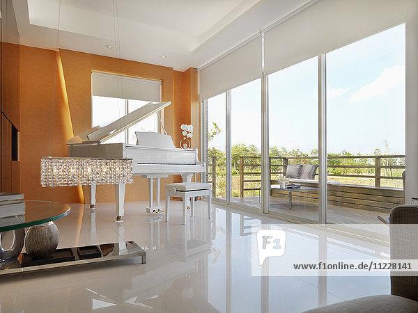 White grand piano in modern interior