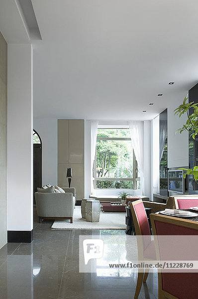 Dining room and living room in modern interior