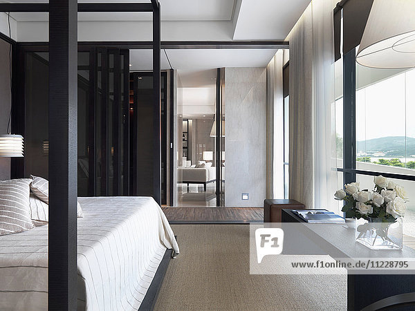 Interior view of bedroom in modern home