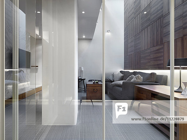 Glass walls in modern home