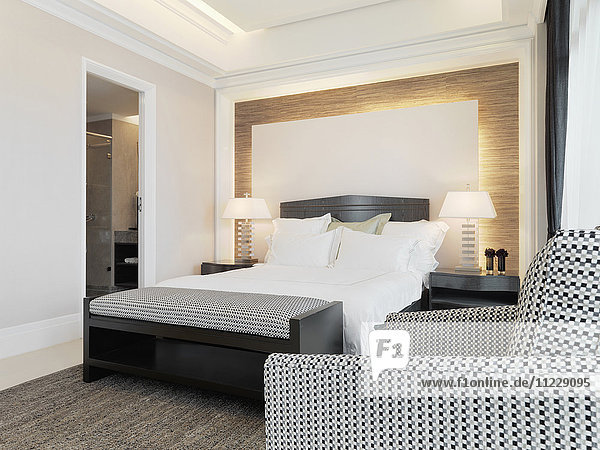 Black and white furniture in modern bedroom