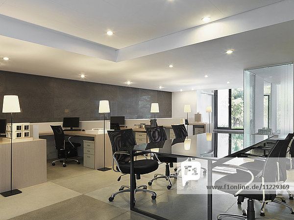 Workspaces and conference table in modern office