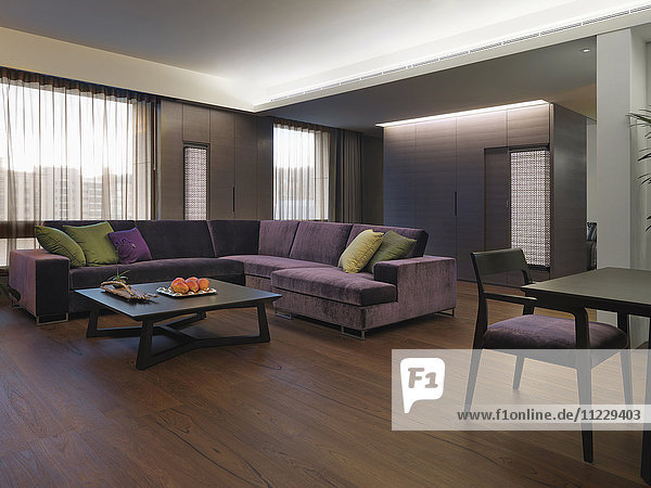 Purple sectional sofa in modern living room