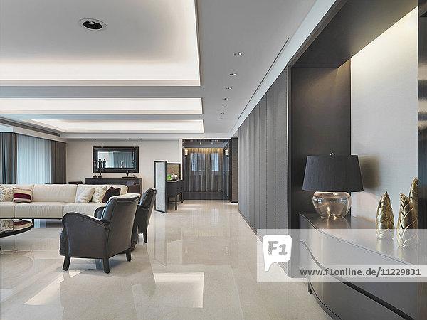 Hallway through modern home