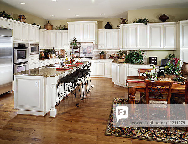 Large contemporary kitchen with breakfast bar