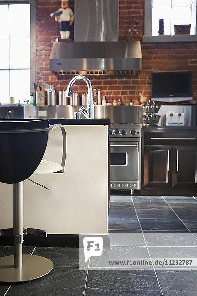 Vignette of modern kitchen.