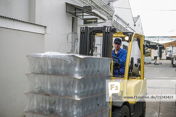 Gabelstaplerfahrer belädt Paletten in Verpackungsfabrik