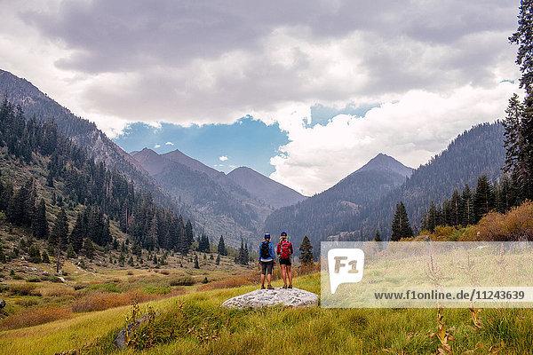 Zwei Wandererinnen bei der Ansicht  Rückansicht  Mineral King  Sequoia National Park  Kalifornien  USA