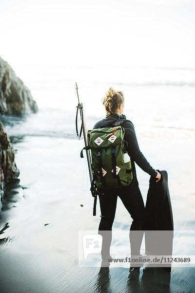 Taucher mit Harpune am Strand  Big Sur  Kalifornien  USA
