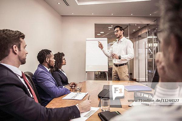 Geschäftsteam hört Flipchart-Präsentation am Vorstandstisch