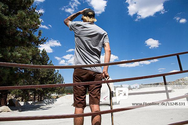 Rückansicht eines jungen männlichen Skateboardfahrers mit Blick auf den Skatepark  Mammoth Lakes  Kalifornien  USA