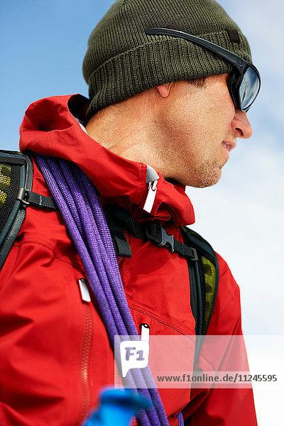 Portrait of mountaineer looking away