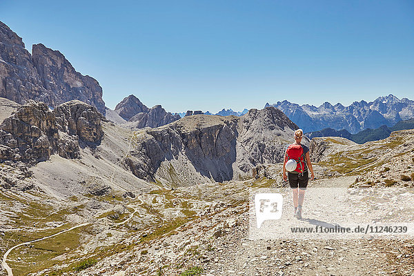 Rear view of female hiker hiking in Dolomites  Sexten  South Tyrol  Italy