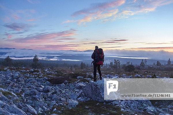 Wanderer genießt den Sonnenuntergang auf dem Gipfel des Sarkitunturi  Lappland  Finnland