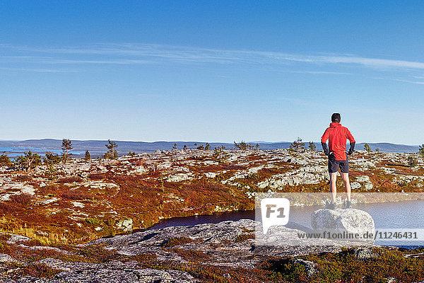 Man looking out to lake on rock  Sarkitunturi  Lapland  Finland