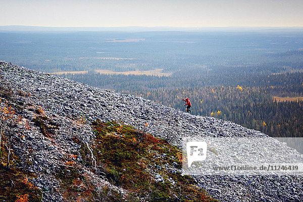 Wanderer beim Aufstieg auf einen felsigen  steilen Hügel  Kesankitunturi  Lappland  Finnland