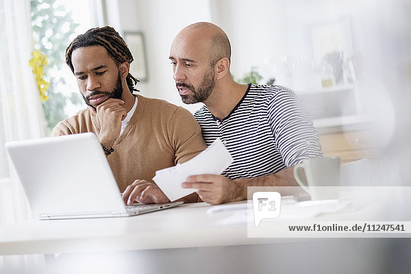 Two men working with laptop at table at home