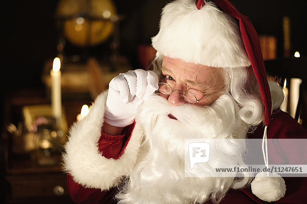 Portrait of Santa Claus winking