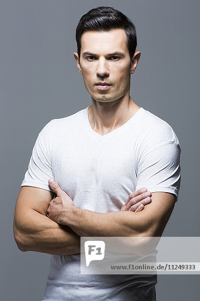 Portrait of man in white t-shirt