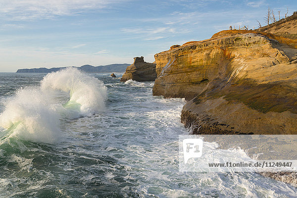 Cliffs over stormy sea