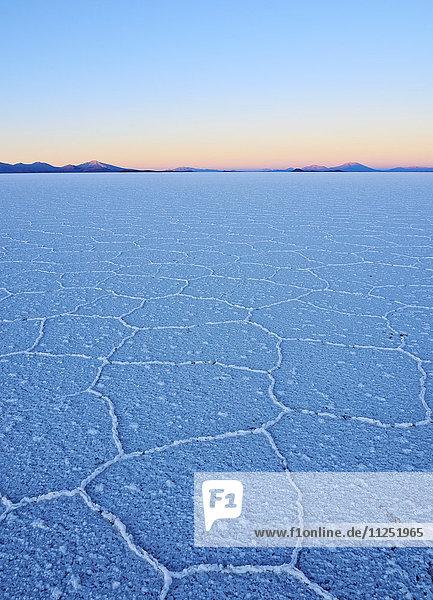 Bolivia  Potosi Department  Daniel Campos Province  View of the Salar de Uyuni  the largest salt flat in the world at sunrise.