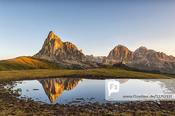 Gusela mountain at sunrise reflected in small lake  Giau Pass  Dolomites  Veneto  Italy.