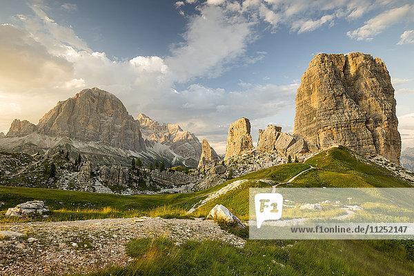Tofane and Cinque Torri group Cortina d'Ampezzo Belluno district Veneto Italy Europe.
