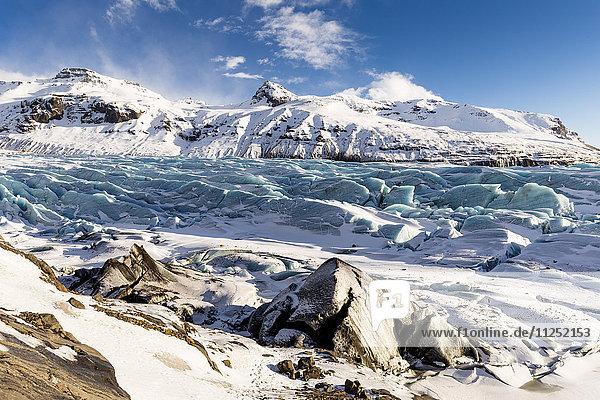 View of Svínafellsjökull glacier National Park of Vatnajökull southern Iceland Europe