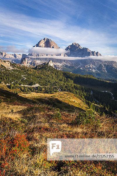 Autumn colors at Giau pass Cortina d'Ampezzo Belluno district Veneto Italy Europe