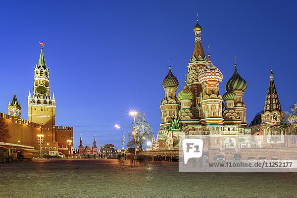 Russia  Moscow  Red Square  Kremlin  St. Basil's Cathedral and Kremlin Spasskaya Tower