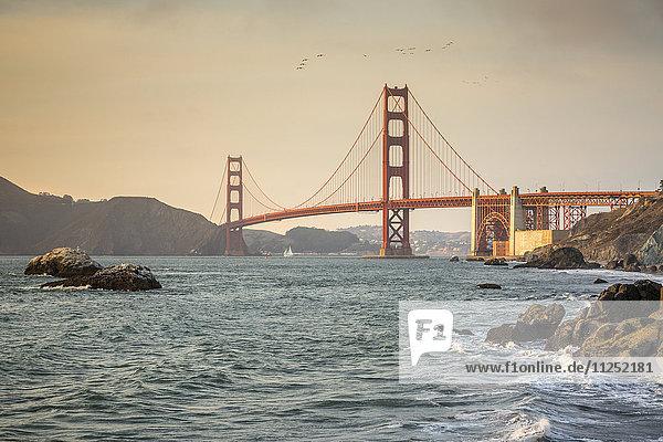Vereinigte Staaten von Amerika USA Strand Sonnenuntergang schießen Bäcker Kalifornien Golden Gate Bridge Marin County San Francisco