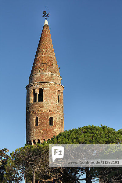 Europe  Italy  Veneto  Caorle. The cylindrical bell tower of the cathedral of St. Stephen