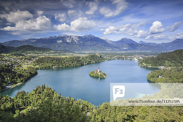 Europe  Slovenia. Overhead view on the lake of Bled
