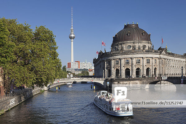 Excursion boat on Spree River  Bode Museum  Museum Island  UNESCO World Heritage Site  TV Tower  Mitte  Berlin  Germany  Europe