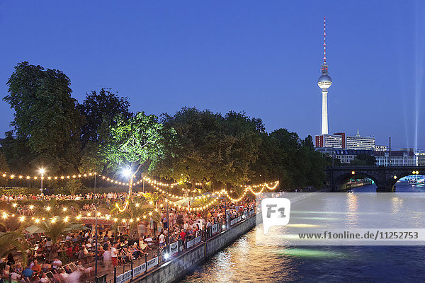 Urban beach Strandbar Mitte near Bode Museum  TV Tower  Spree River  Mitte  Berlin  Germany  Europe