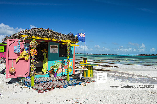 Colourful shop on Five Cay beach  Providenciales  Turks and Caicos  Caribbean  Central America