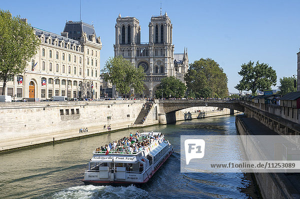 View of the River Seine and Notre Dame Cathedral  Paris  France  Europe