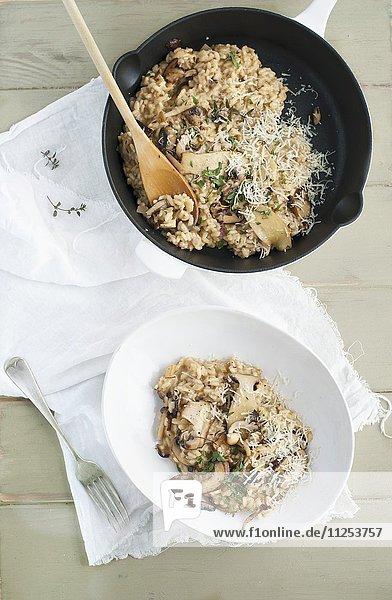 Risotto mit Pilzen (Draufsicht)
