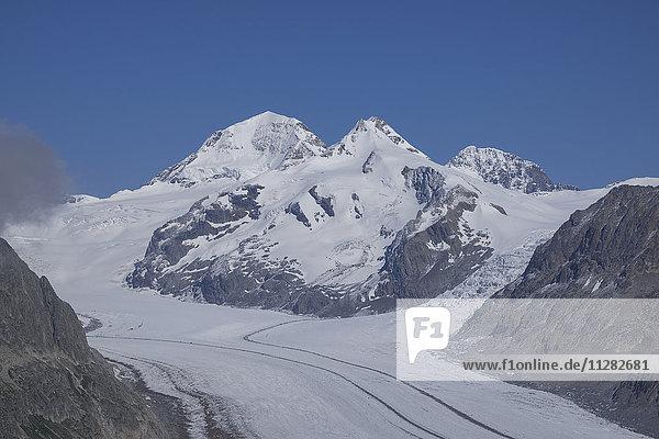 Snowy mountain road  Aletsch Glacier  Canton Graubunden  Switzerland