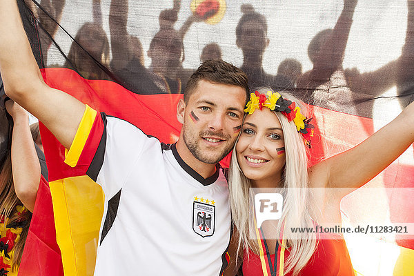 German soccer fans cheering