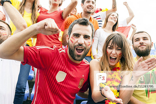 Spanish soccer fans cheering and shouting