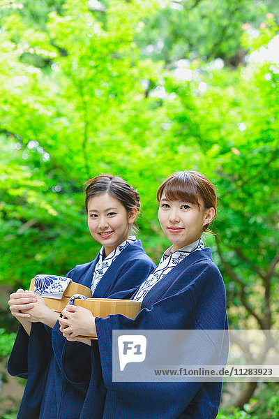 Young Japanese women wearing yukata at traditional onsen hot spring