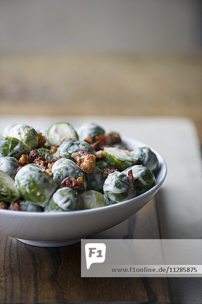 Bowl of brussels sprouts and cream