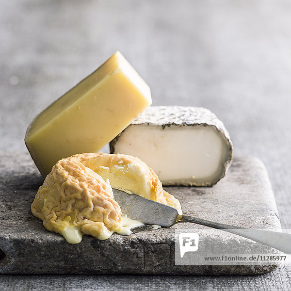 Soft cheese and knife