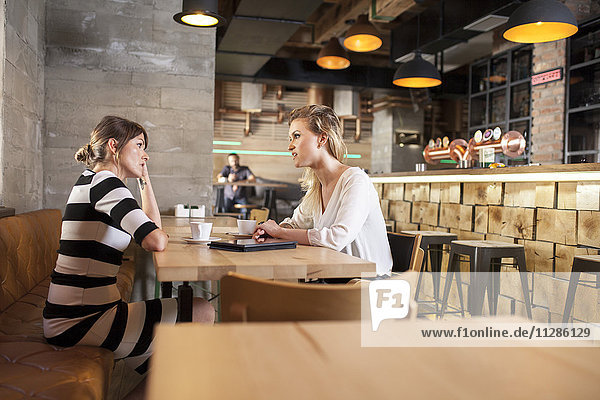 Two girlfriends in coffee shop having a conversation